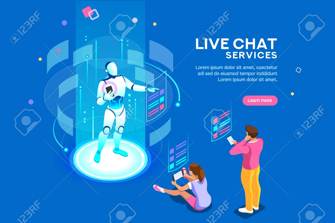 Artificial intelligence, ai for business. Iot concept, mans and women a chat bot dialog. Messenger application, virtual service of robot for social media. Flat Isometric concept with characters and - 112204114