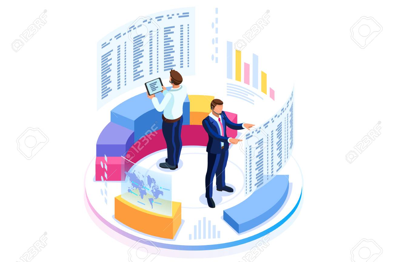 Financial administration concept. Consulting for company performance, analysis concept. Statistics and business statement. Flat isometric infographics for banner or business hero images. - 105923605