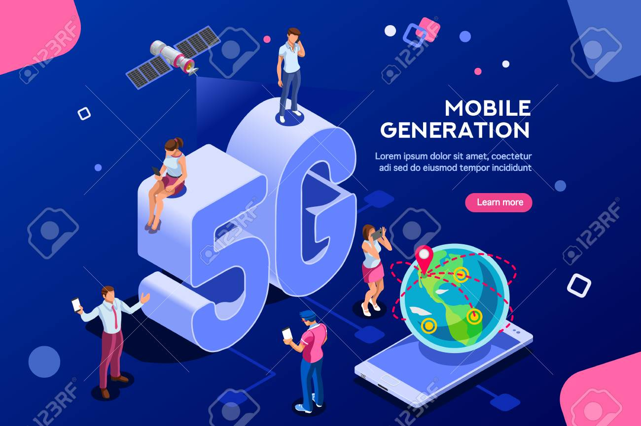 Internet systems telecommunication service. Wifi broadcast and data generation. Mobile 5G smartphone signal, tech of speed, global broadcasting to cloud. Isometric concept with characters illustration - 106377830