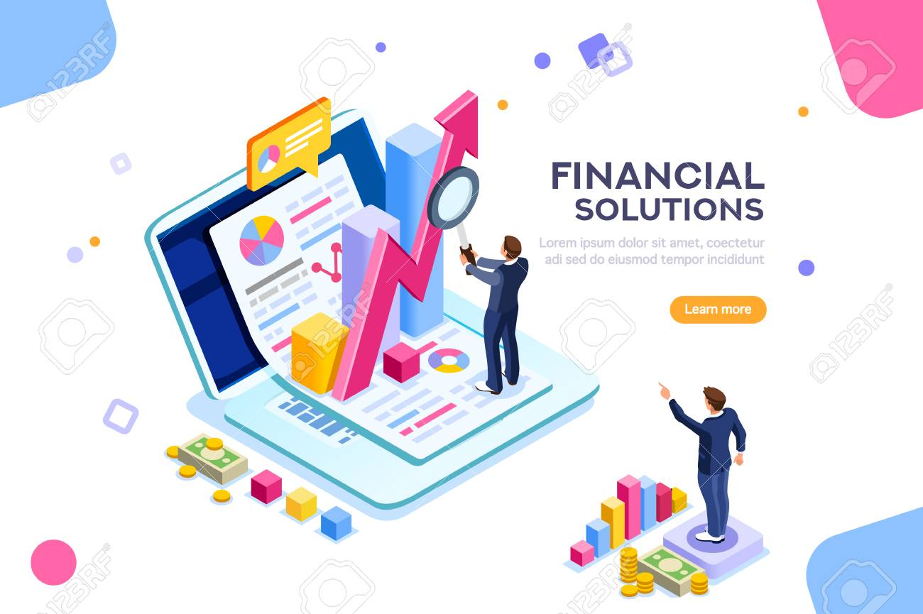 Finance and engineering graph of economics. Statistic and sales manager for financial management concept. Economic infographic banner. Flat isometric concept with characters vector illustration. - 106377833