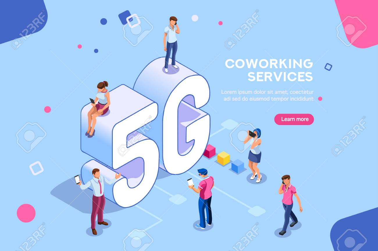 Internet systems telecommunication service. Wifi broadcast and data generation. Mobile 5G smartphone signal, tech of speed, global broadcasting to cloud. Isometric concept with characters illustration - 106377645