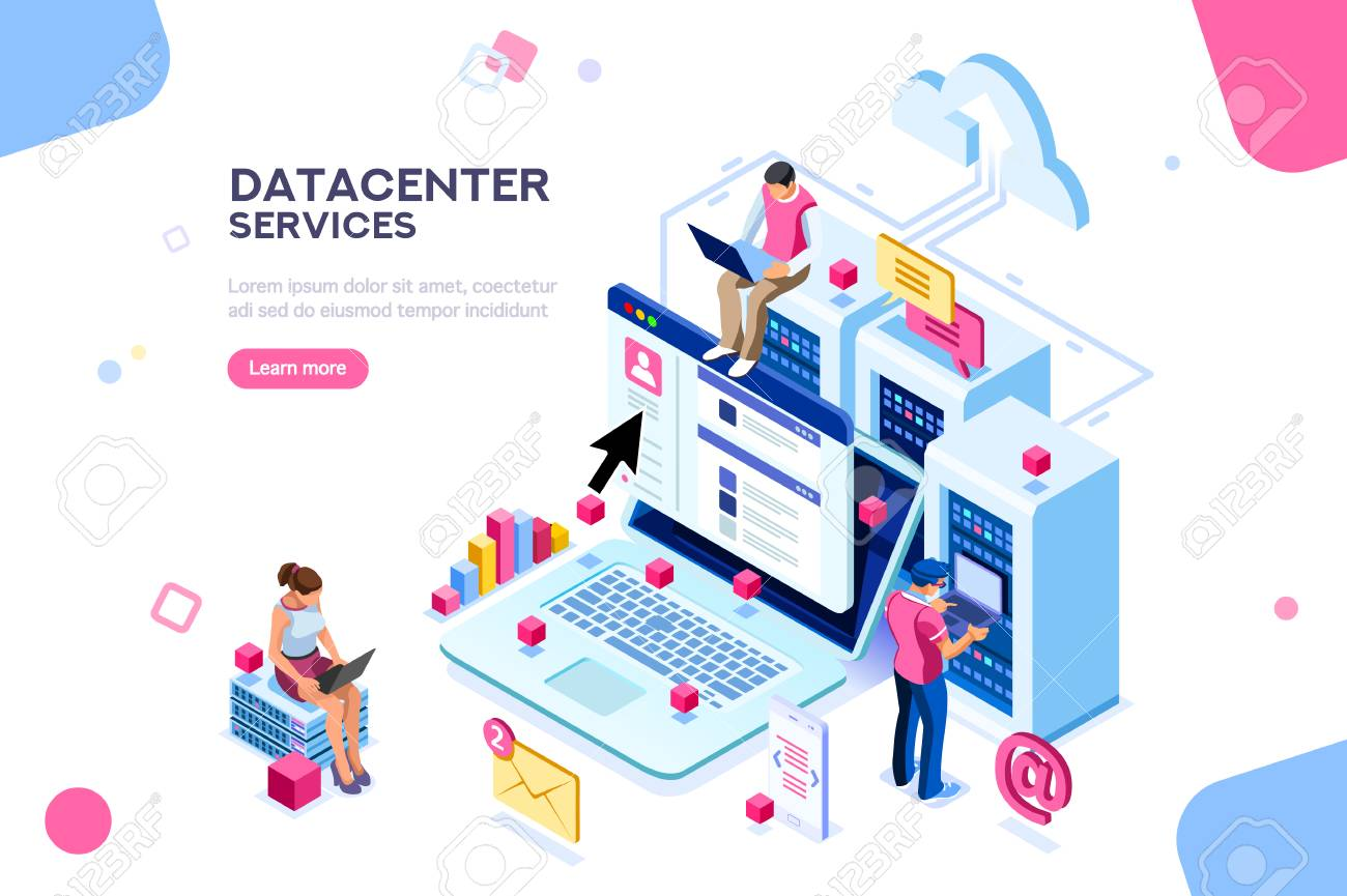 Internet datacenter connection, administrator of web hosting concept. Character and text for services. Tech repair center hardware software database for safe server. Flat isometric vector illustration - 106747452