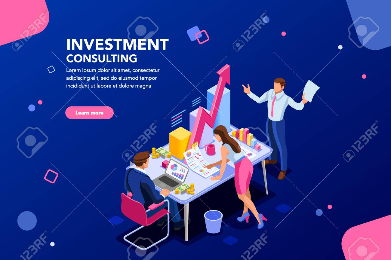 Business adviser team. Management of investment, meeting, account, consultant discussion. Data income graph professional analyzing, financial analyst concept. Characters on flat isometric illustration - 106805797