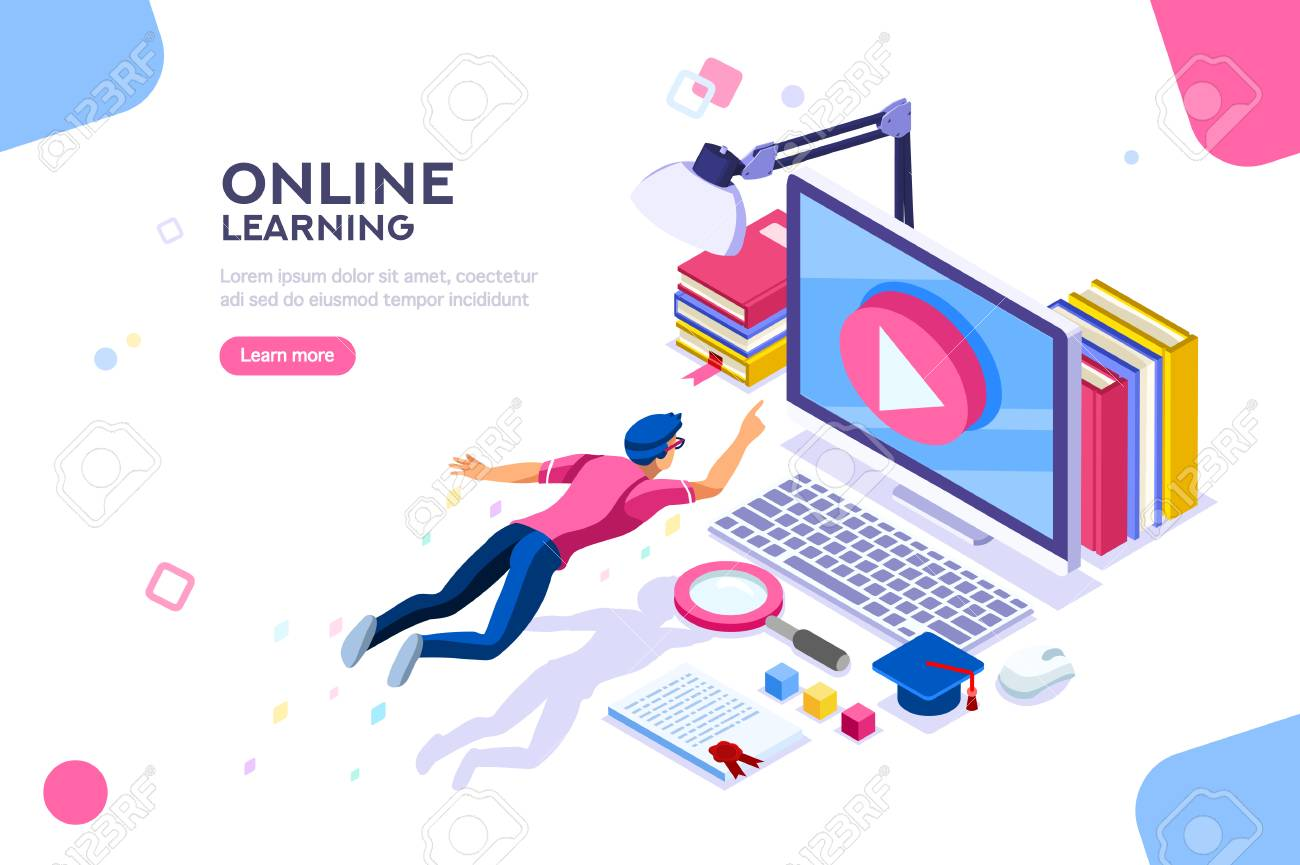 Desk of class seminar or courses. Online tutorial infographic for college research. Teaching cap on app for distance e-learning graduation. Concept with characters, flat isometric vector illustration. - 111830117