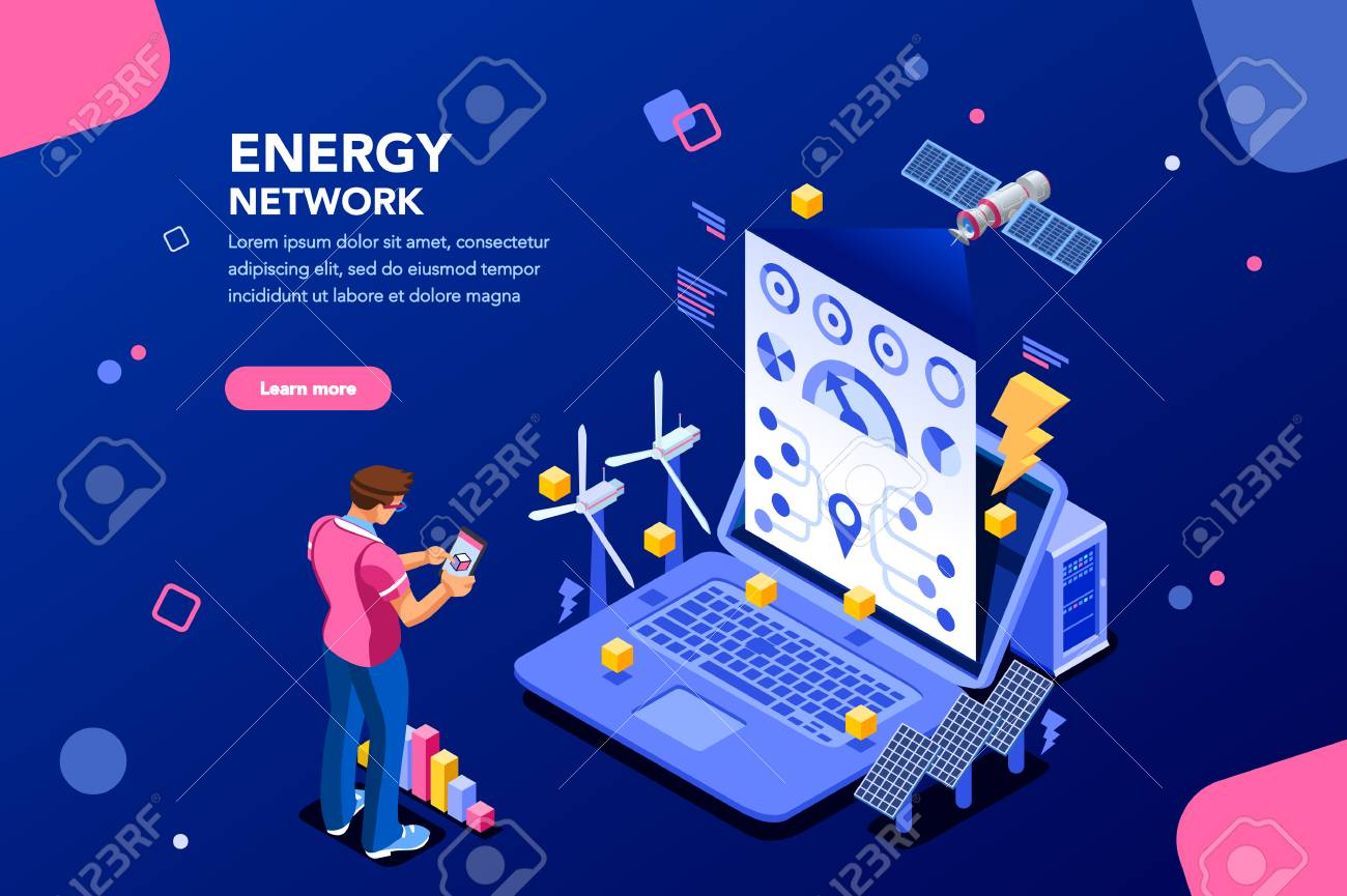 Augmented reality connection and accounting of energy station. Future, futuristic chart of energy visualization on application, email or infographics. Infrastructure of network. Flat isometric design. - 106805799
