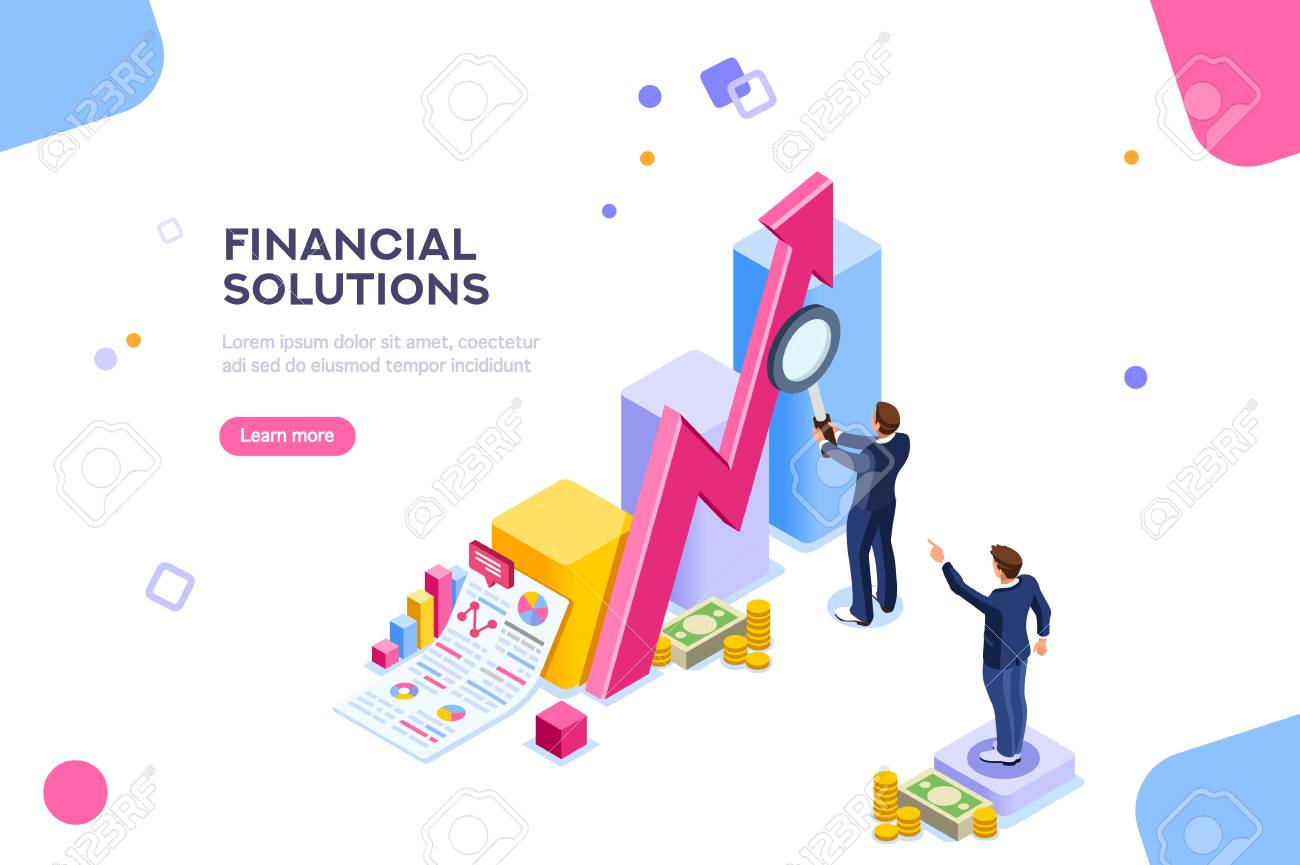 Financial research concept. Audit management of economic strategy. Currency development, economics corporate plan for sales. Statistic for organization or investment. Flat isometric characters concept - 111830120