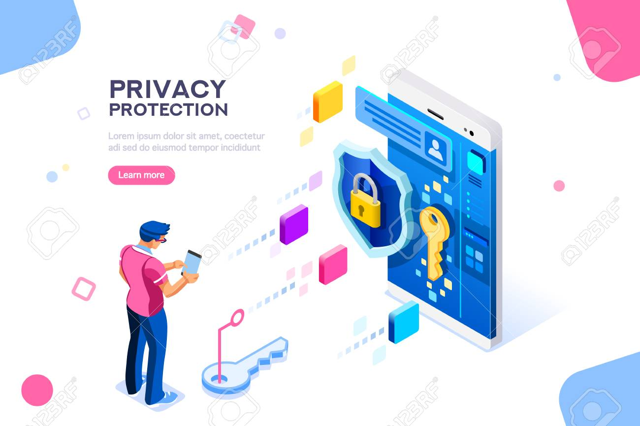 Infographic, banner with hero protect data and confidentiality. Safety and confidential data protection, concept with character saving code and check access. Flat isometric vector illustration. Data protection concept. Credit card check and software access data as confidential. Can use for web banner, infographics, hero images. Flat isometric illustration isolated on white background. - 106776114