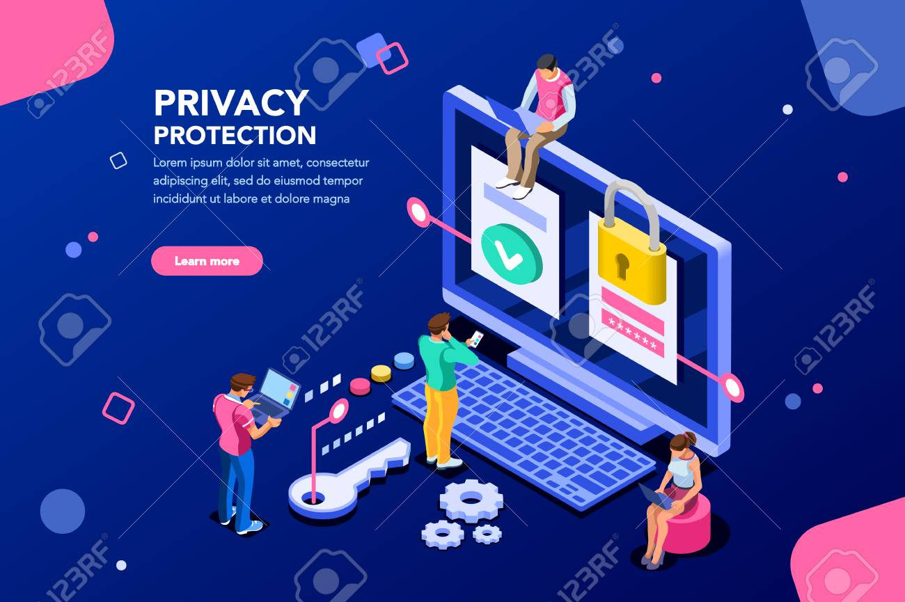 Infographic, banner with hero protect data and confidentiality. Safety and confidential data protection, concept with character saving code and check access. Flat isometric vector illustration. - 106776115
