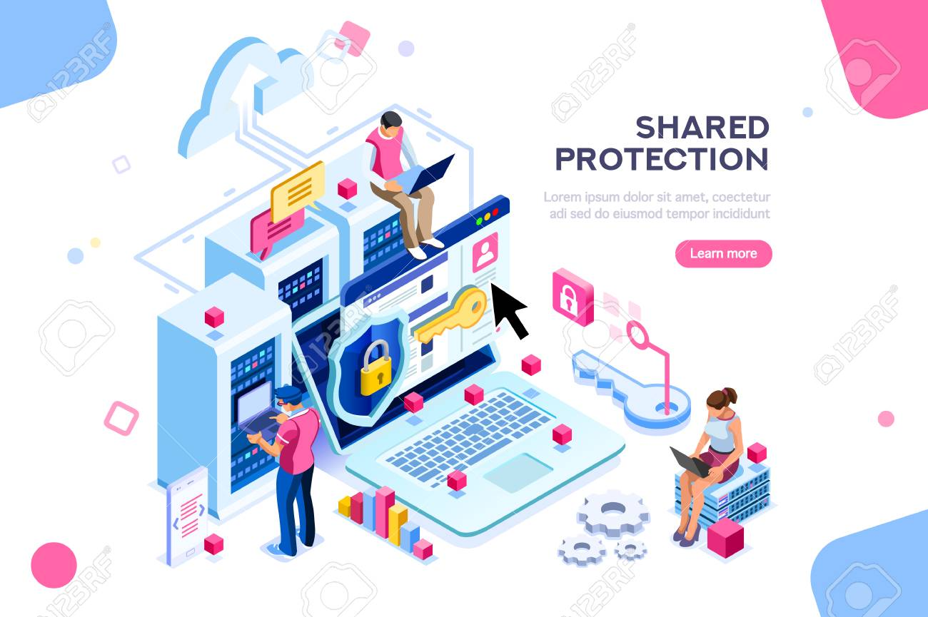 Online administrator, web hosting concept. Technician repair software. Hardware protection share infographic. Store safe server concept. Characters and text images, flat isometric vector illustration - 111830129