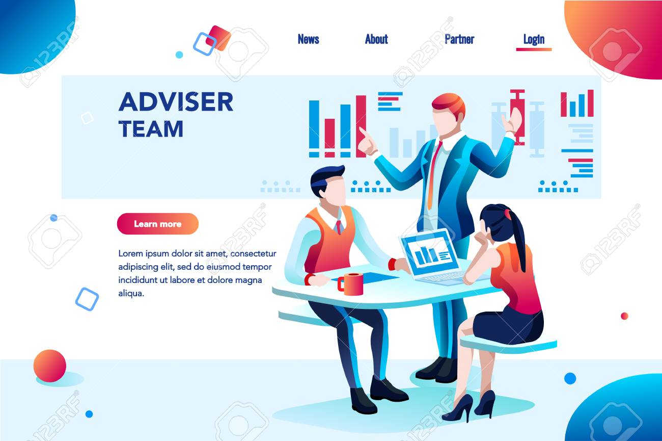 Analyst, financial banner. Planner, corporate earning calculate, data discussion. Consultant concept, characters, text on flat isometric emblem. Flowchart icons, infographic images vector illustration - 110219370