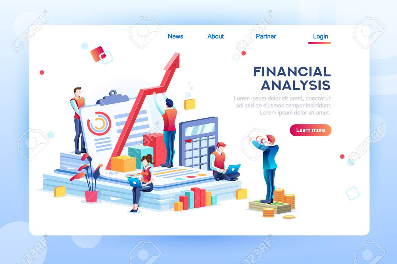 Balance financial value, management and administration concept. Characters, people engineering a plan. Statistic, calculating financial risk graph. Flat Isometric characters vector illustration. - 110219373
