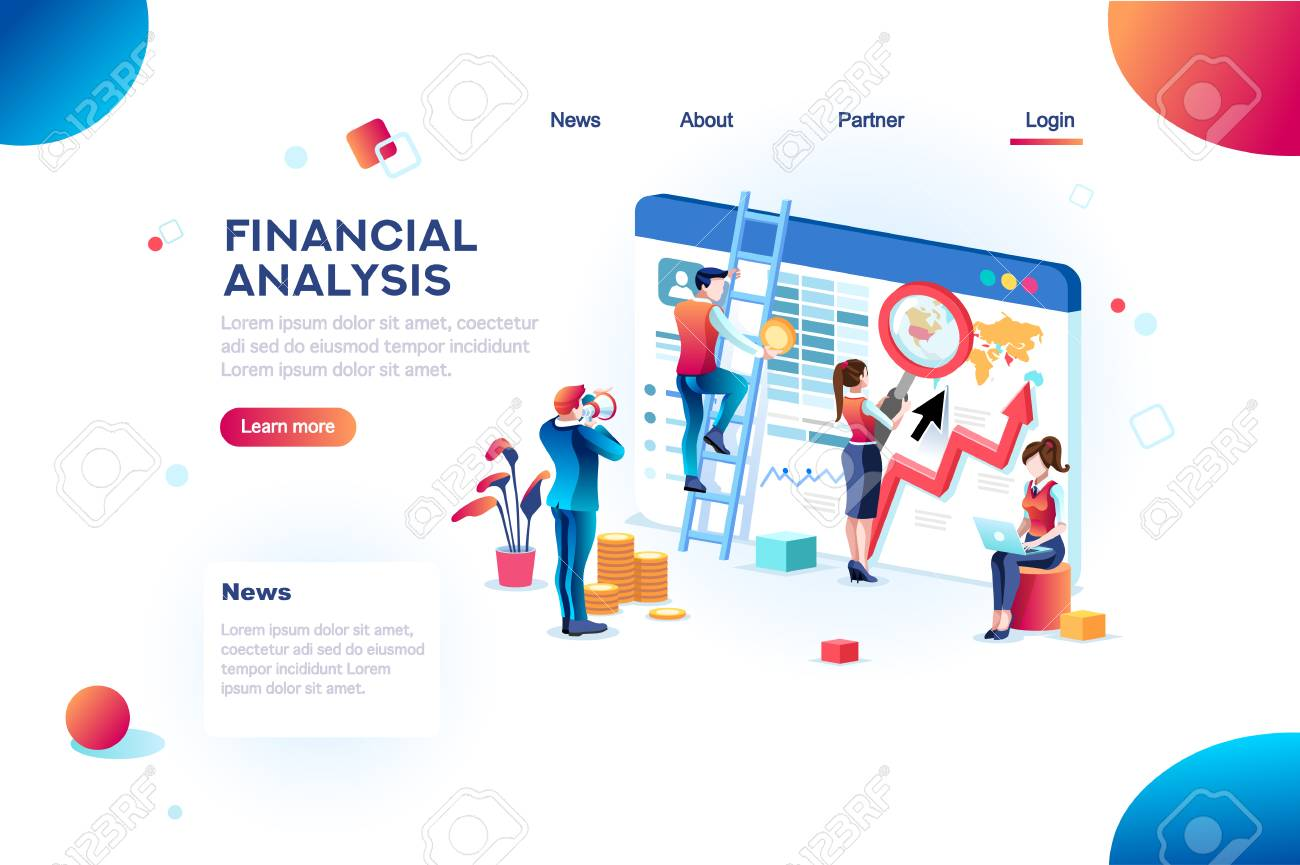 Finance analysts. Concept of analytics for website, small social presentation, magnifying infographic. Study global occupation concept with characters and text. Flat isometric vector illustration. - 108045464