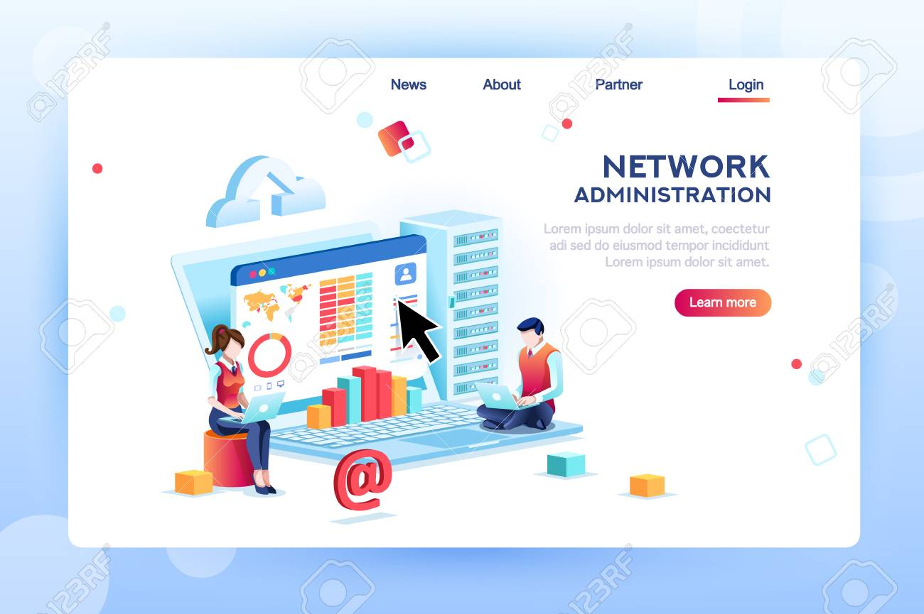Data center repair information, administrator on network, lan concept. Character monitor and support, admin of website. Banner infographic icons flat isometric emblem flowchart vector illustration. - 110045604
