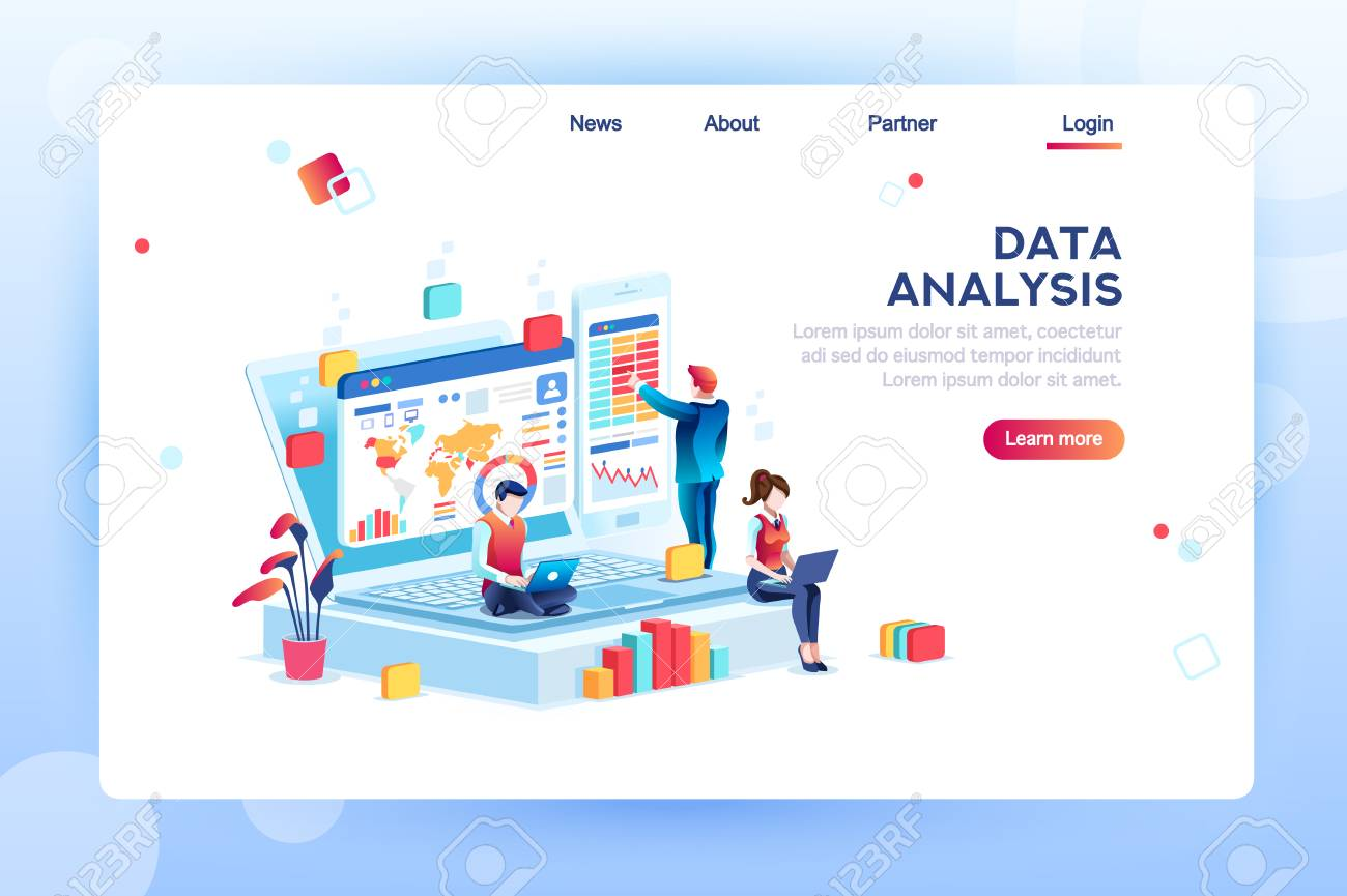 Data analysis concept with characters. Engine strategy, analyzing, infographic of workplace for developers, workspace for creative optimization. Template for web banner, flat isometric illustration. - 110045608