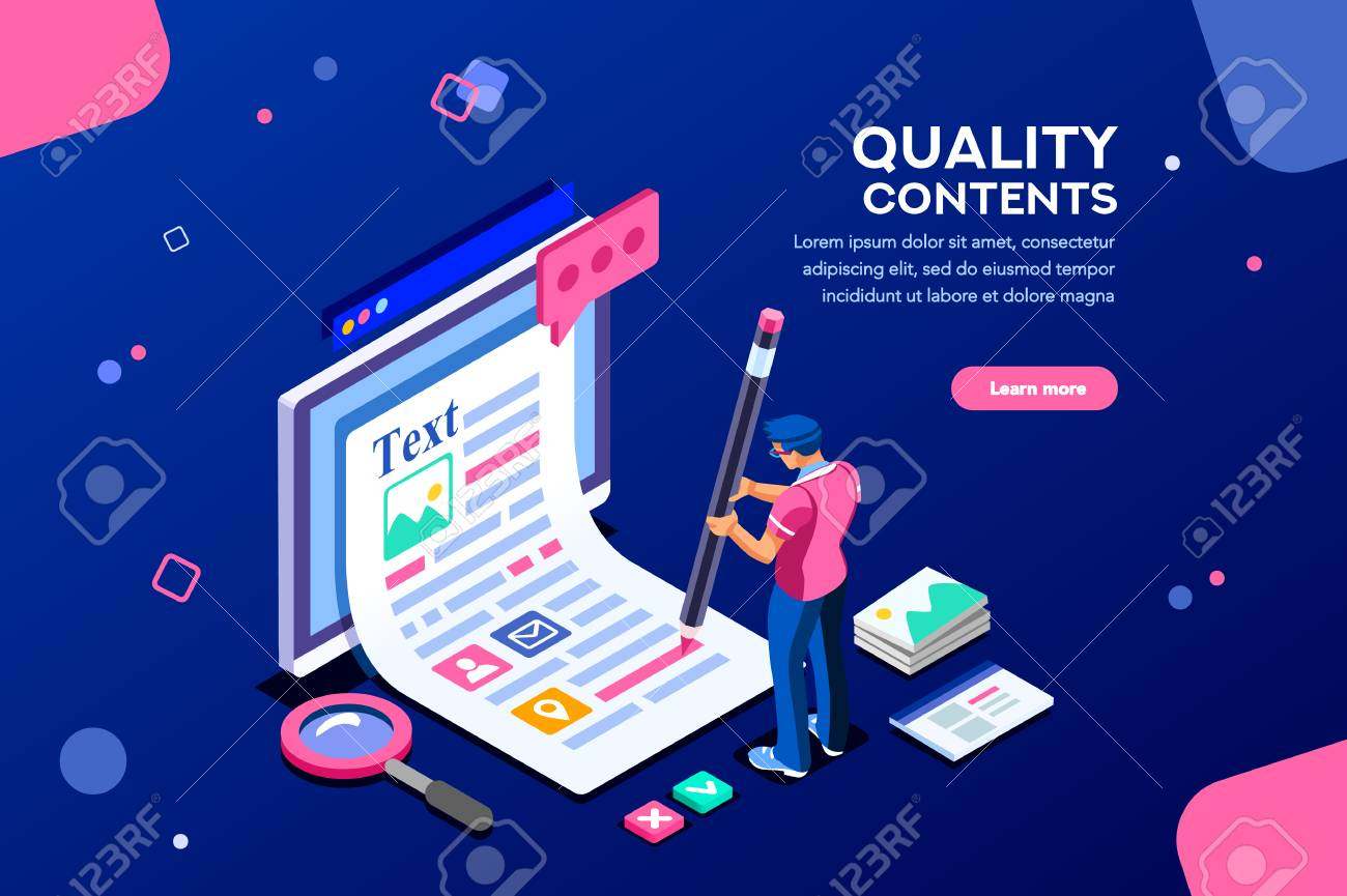 Blog edit, post infographic with pencil. Research promotion for seo content or marketing. Create education concept with characters and text. Flat isometric images, vector illustration. - 109282394