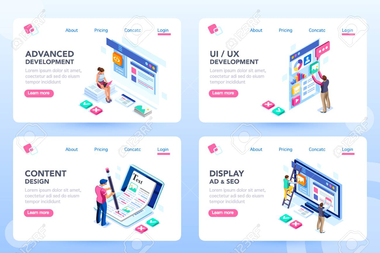 Develop, web development, process concept, webdesign advertising, engine for software content. Visual front infographic of program optimization concept. Characters flat isometric vector illustration. - 109282408
