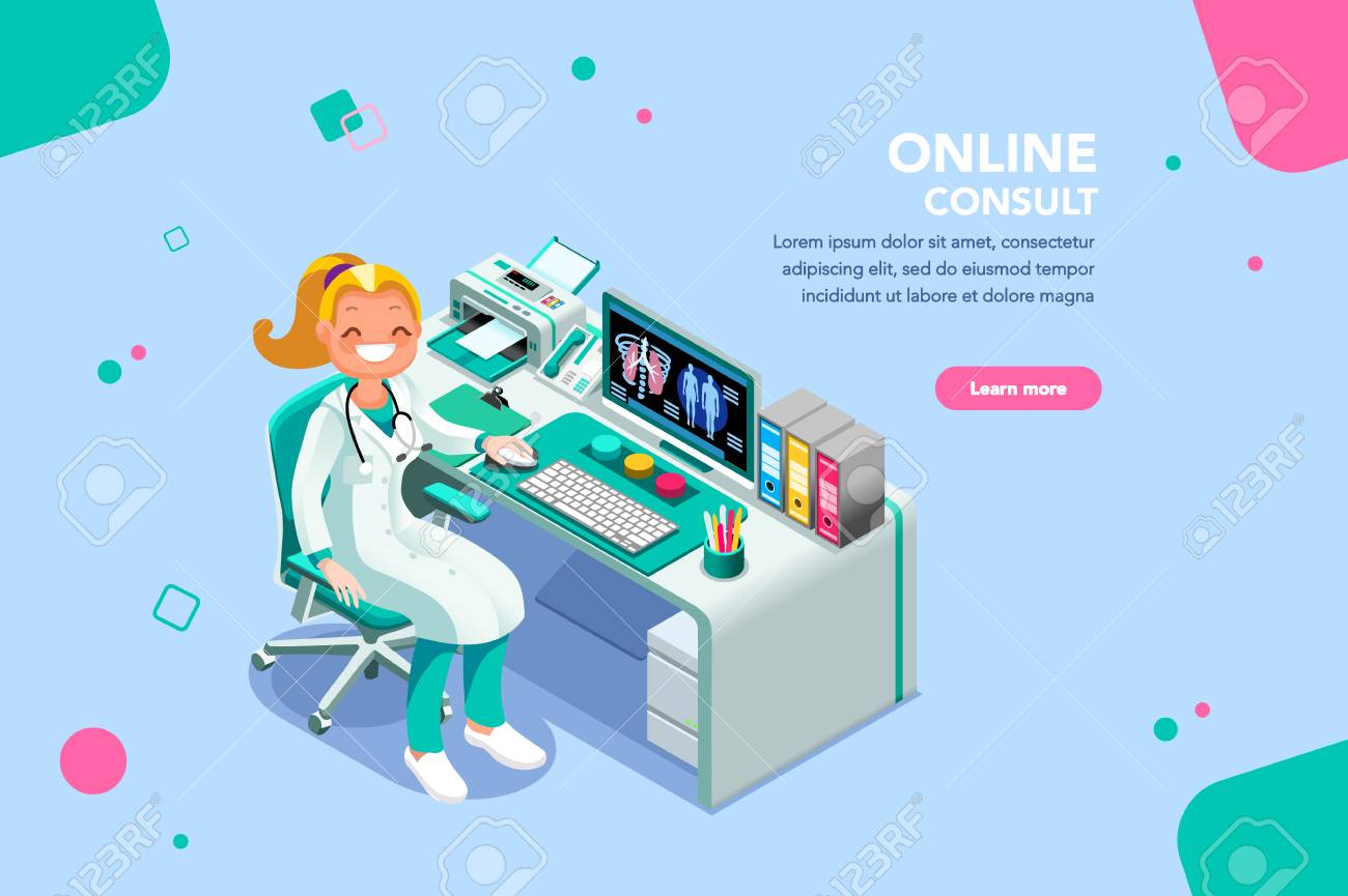 Concept with characters, treatment and exam patient, specialist cartoon. Examination, diagnosis, nurse work, physician at female consult infographic. Scanning person flat isometric vector illustration - 109282418