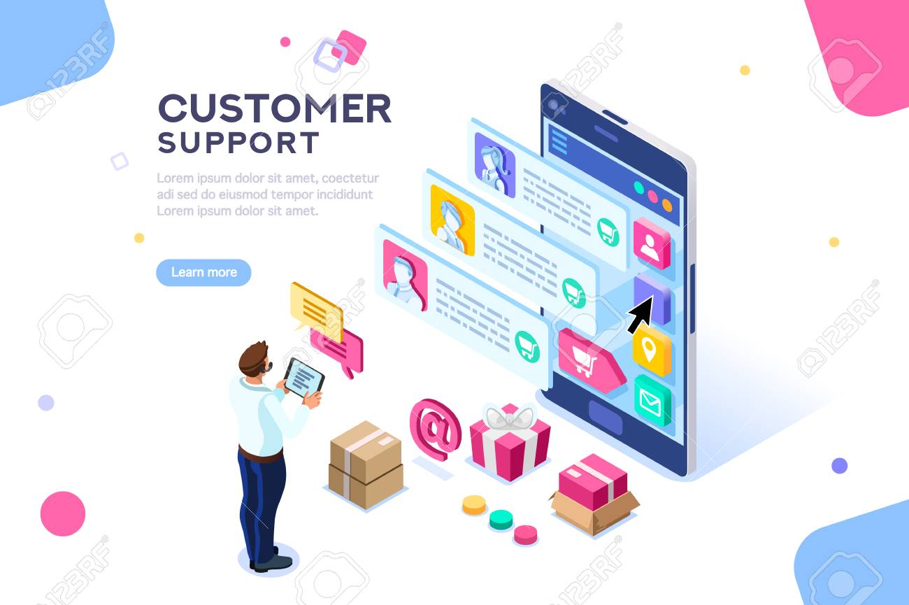 Commercial support for customer transaction on website. Consumer at website, buyer at electronic dashboard. Commerce or marketing concept with characters flat isometric images vector illustration. - 109355442