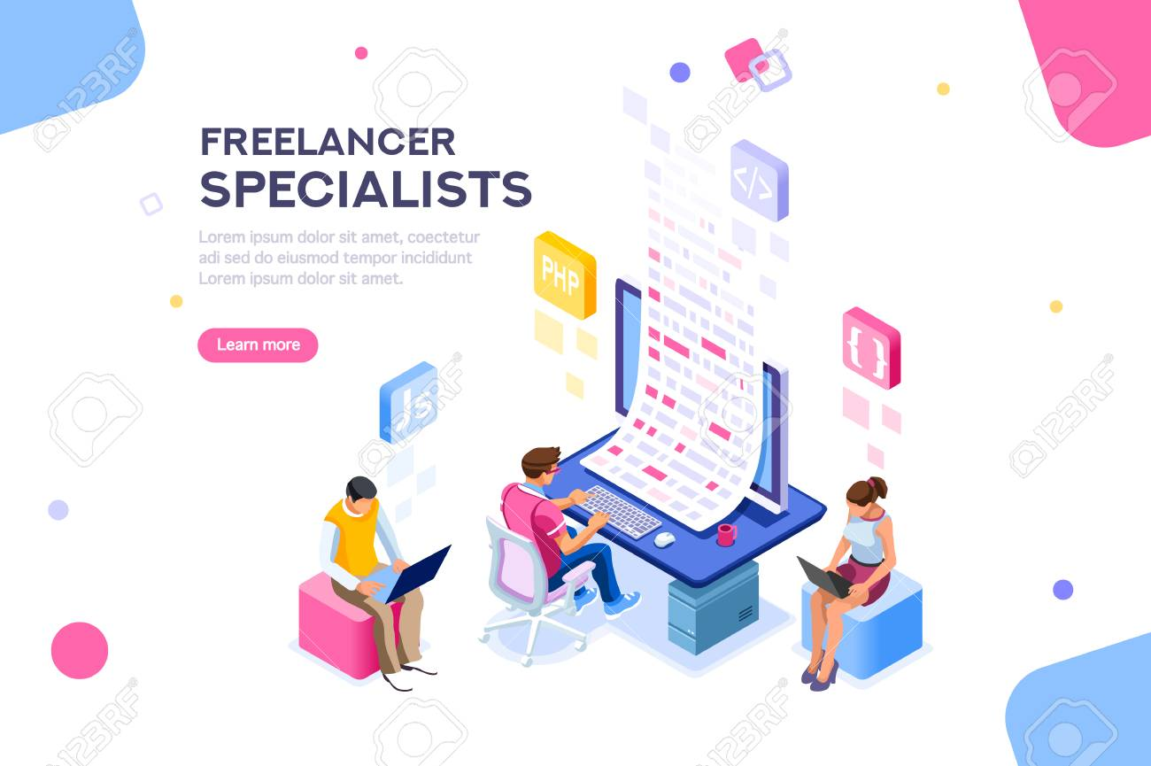 Infographic of software develop a project wireframe. Engineering desktop workstation for office specialist. Graphic for freelancer, concept with characters and text. Flat isometric vector illustration - 109355453
