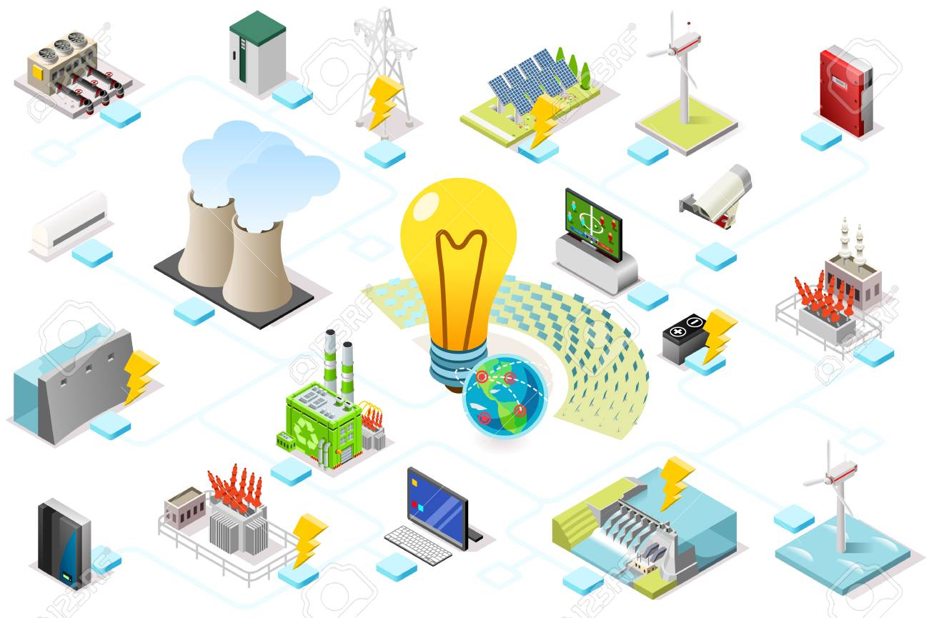 Power grid infographic, generating of power consumption. Energy element on line transmission. Station with high voltage socket. Flat isometric flowchart concept with characters. Vector illustration. - 109825459
