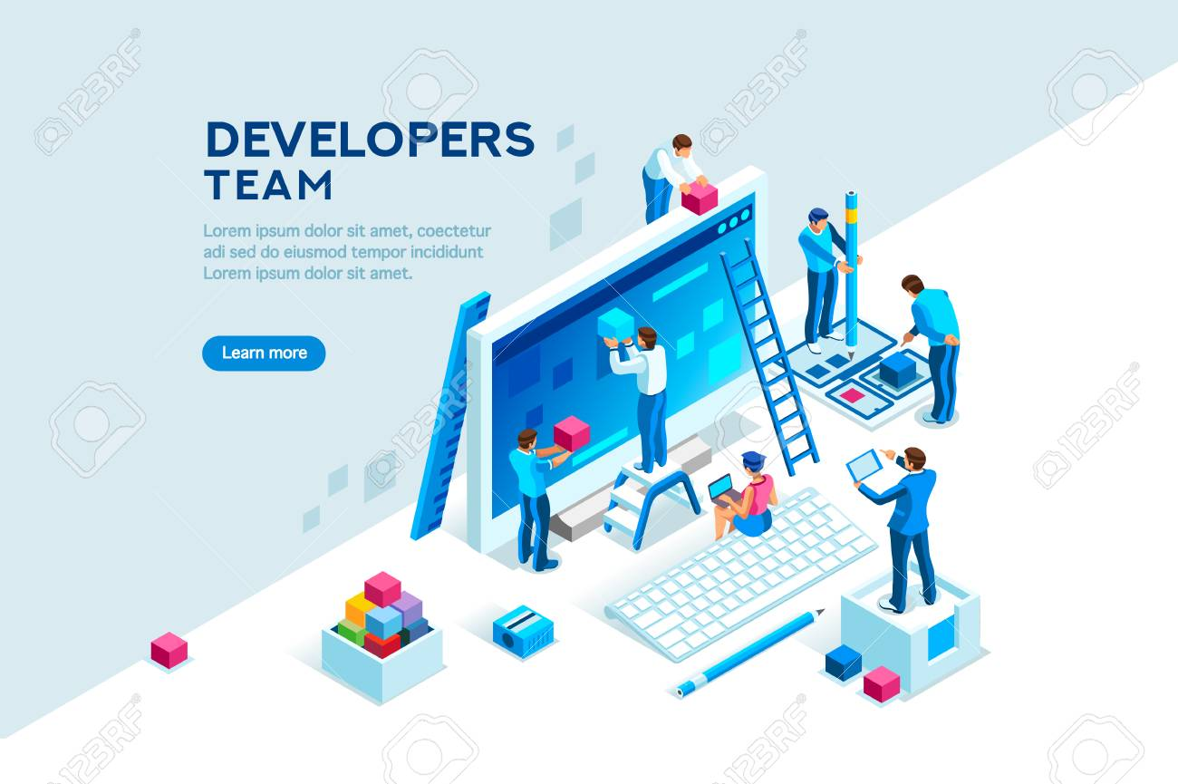 Engineer team at project development, template for developer. Coding develop, programmer at computer or workstation for business. Concept with character, flat isometric vector illustration - 109825461