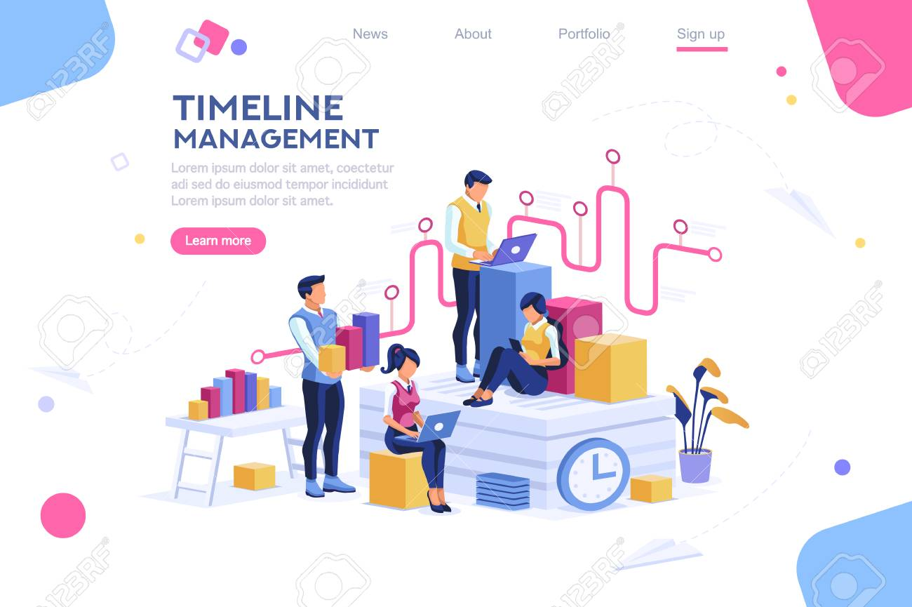 Document management, team thinking, brainstorming analytics information about company. Clock always at office. Around infographic flying presentation history timeline concept. Flat isometric character - 111180663
