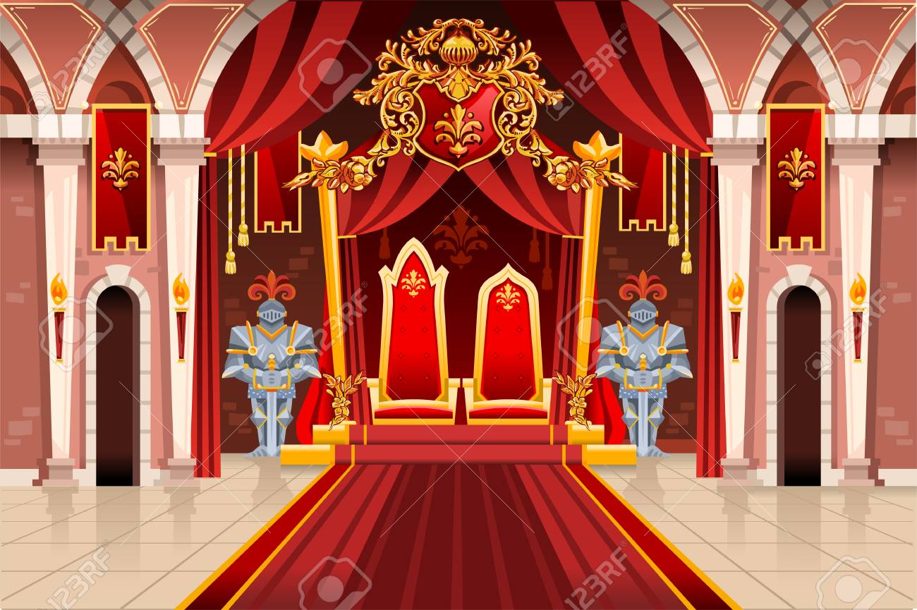 Door of the castle and windows, ancient rich medieval artwork with royal armor of knight guard. Image with throne of the king on the palace. Flags of fantasy fairy queen. Vector illustration. - 111603569