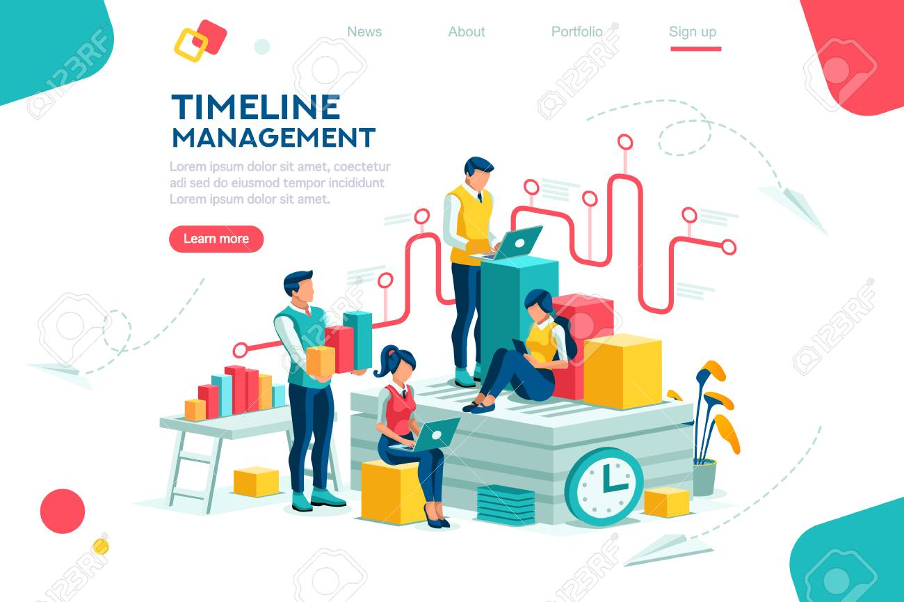 Document management, team thinking, brainstorming analytics information about company. Clock always at office. Around infographic flying presentation history timeline concept. Flat isometric character - 118849079