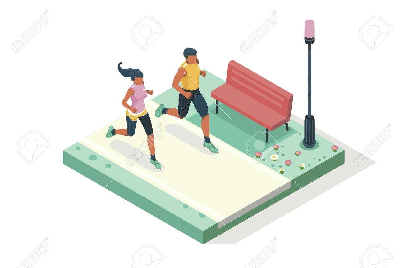 Marathon race event. Fitness sneakers. Training on the road. Run sprint, health dynamics people sprint. Jogging fast group. Images, web banner, flat isometric illustration isolated on white background - 125193917