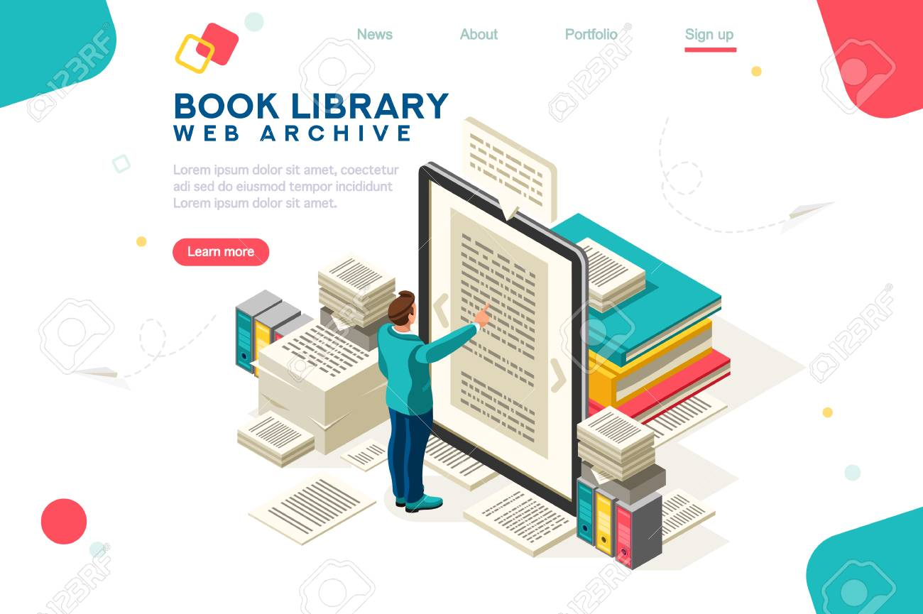 Media book library concept. E-book, reading an ebook to study on e-library at school. E-learning online, archive of books. Flat Isometric characters vector illustration. Landing page for web. - 124633146