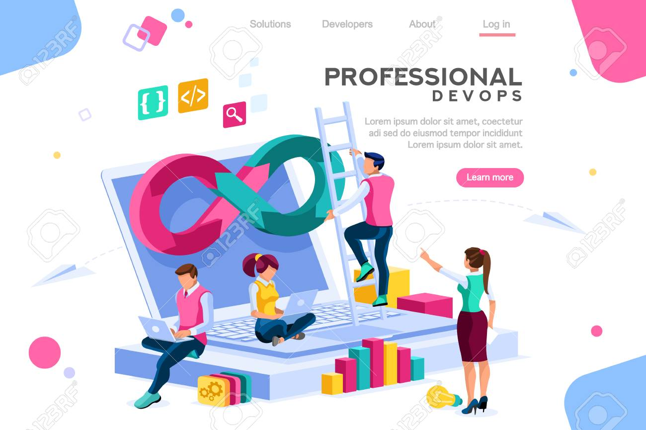 Programmer, user administrator, professional engine. Software support to build banner infographic. administration images flat technician concept, DevOps images. Isometric illustration. - 122714626