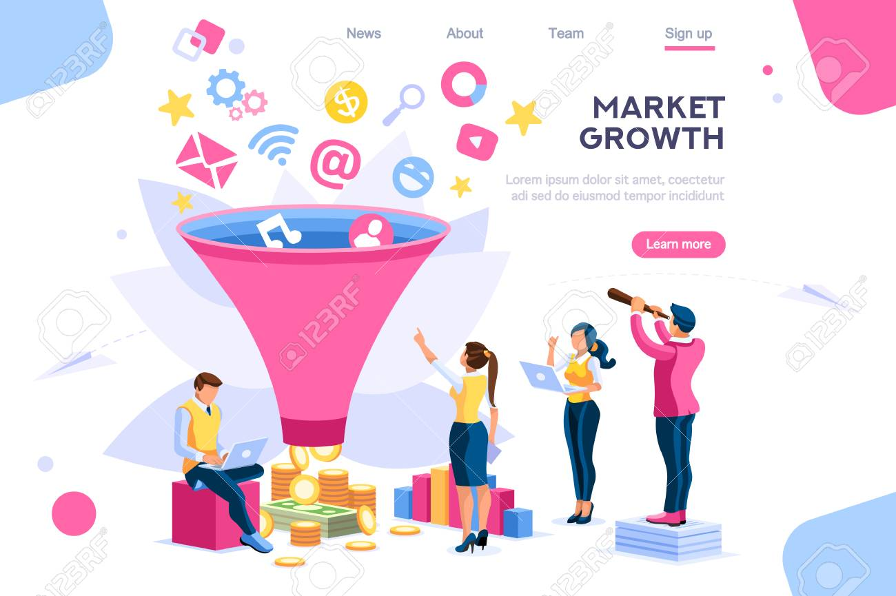 E-business buyer, market imagination growth focus filter. Digital generation. Elements for web banner, infographics, hero images. Flat isometric vector illustration isolated on white background - 122714899