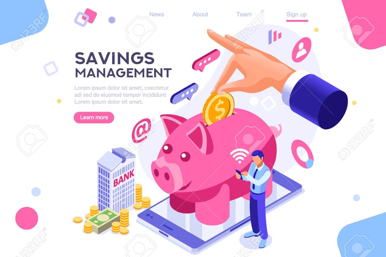 Depositing, banknote banner. Money on smartphone, coin holding. Bank concept for infographics, hero images. Flat isometric vector illustration. Web banner between white background, between empty space - 122715031