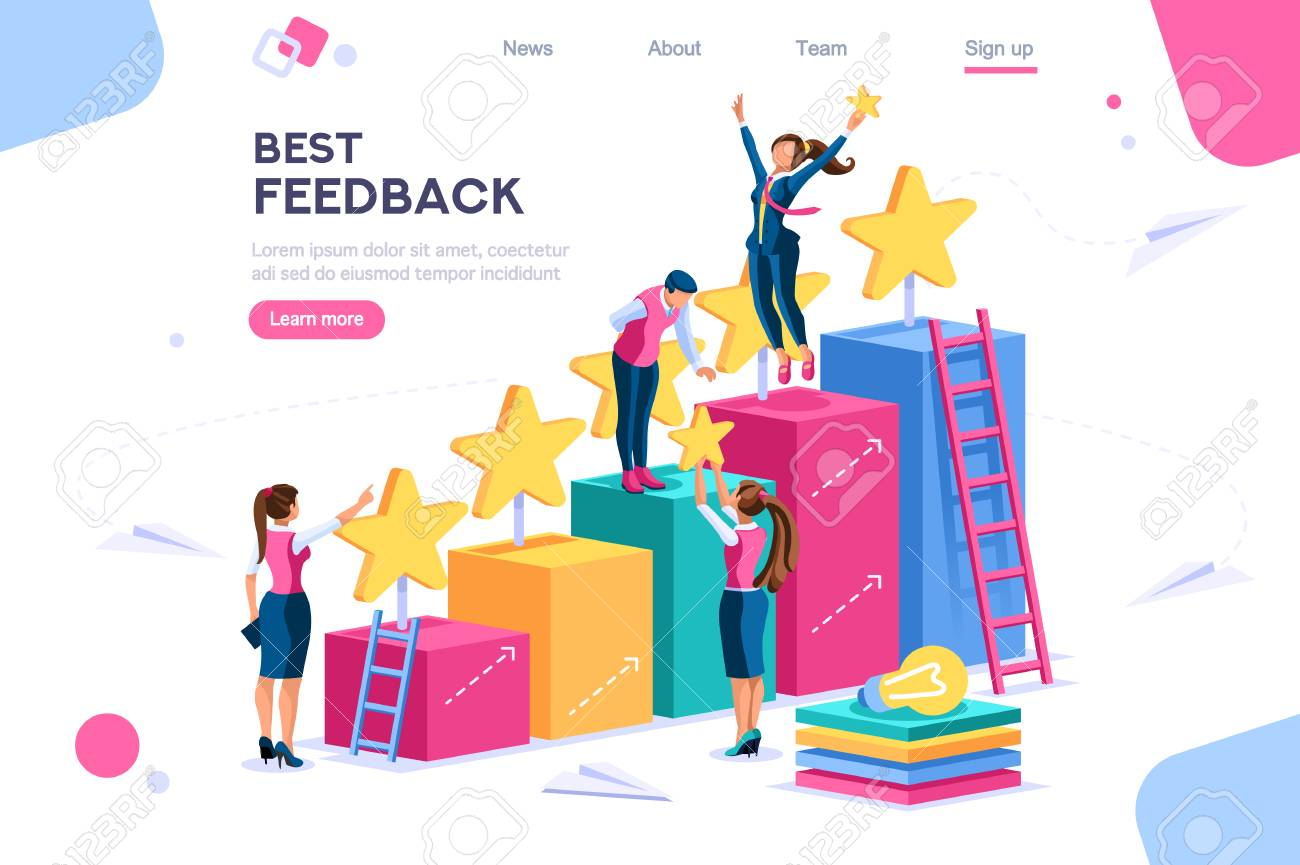 Arrows score, win and grow. Star choose, best feedback comment. 5 stars rating, people and text, characters concept for web banner, infographics, hero images. Flat isometric vector illustration - 122715033