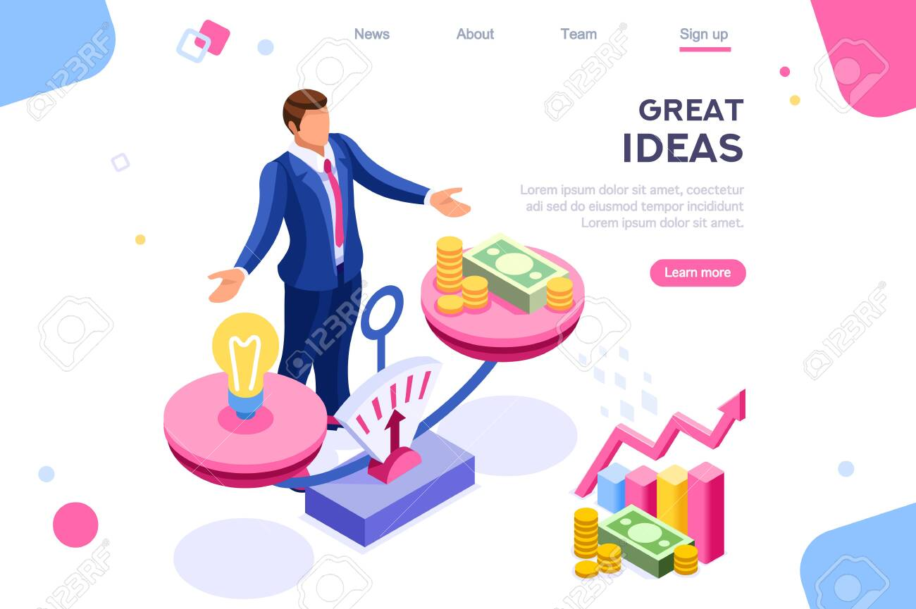Money idea compare layout. Hold conceptual bulb on gold balance concept, can use for web banner, infographics, hero images. Flat isometric vector illustrations isolated on white background - 122715036