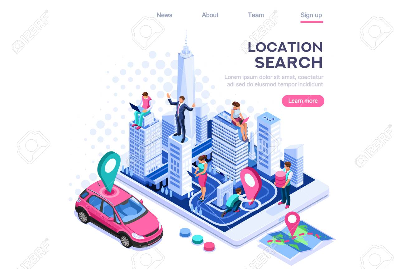 City location, cartography path marker system. Map navigator, smartphone navigation concept for web banner, infographics, hero images. Flat isometric vector illustration isolated on white background - 122715083