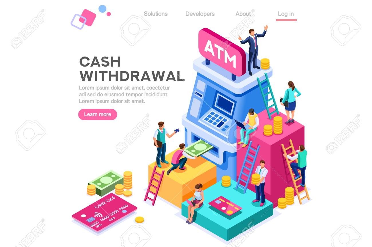 Financial, withdrawal cash. Human queue at atm, web cashbox, machine transaction, can use for web banner, infographics, hero images. Flat isometric vector illustration isolated on white background - 122715085