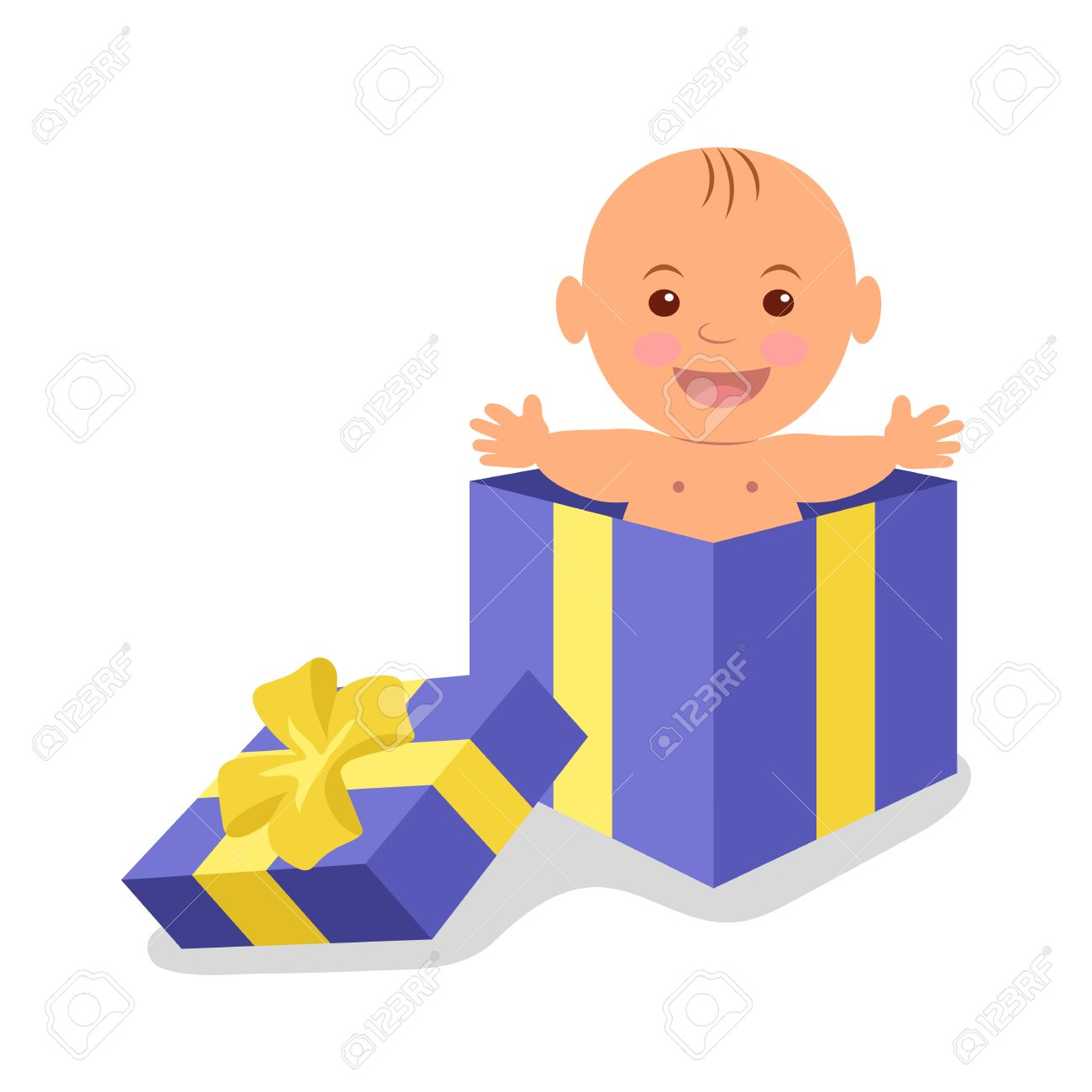 Cute baby boy in a gift box. The precious gift of life. - 49591163