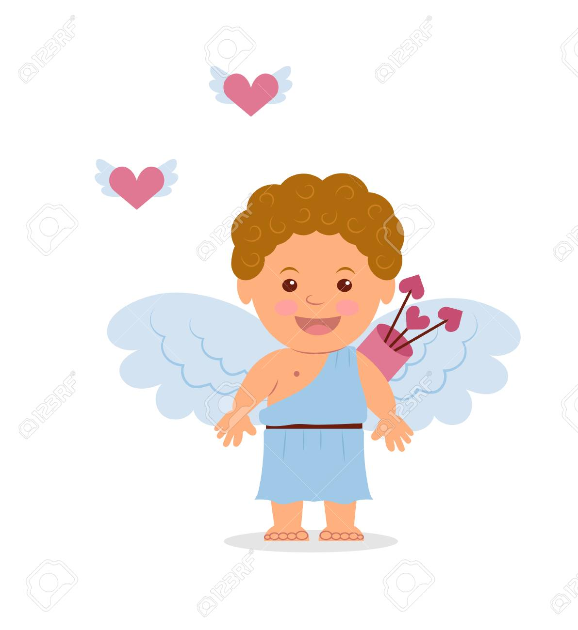 Funny Little Cupid Illustration Eines Valentinstag Isoliert Auf