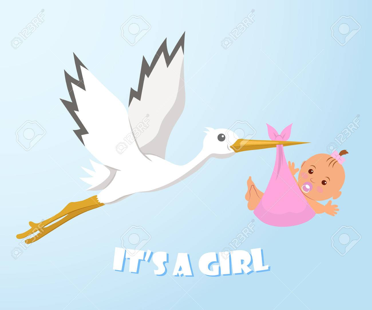Stork and baby. Stork carries a baby in a diaper. It's a Girl. - 52546649