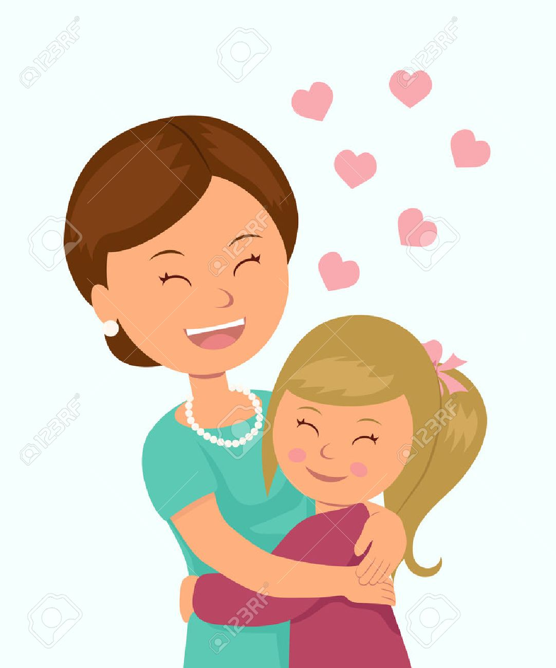 Daughter hugging her mother  Isolated characters in the embrace