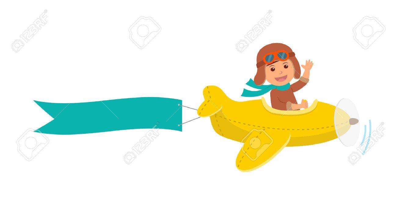 Piloto Del Muchacho Lindo Vuela En Un Avión De Color Amarillo En El ...