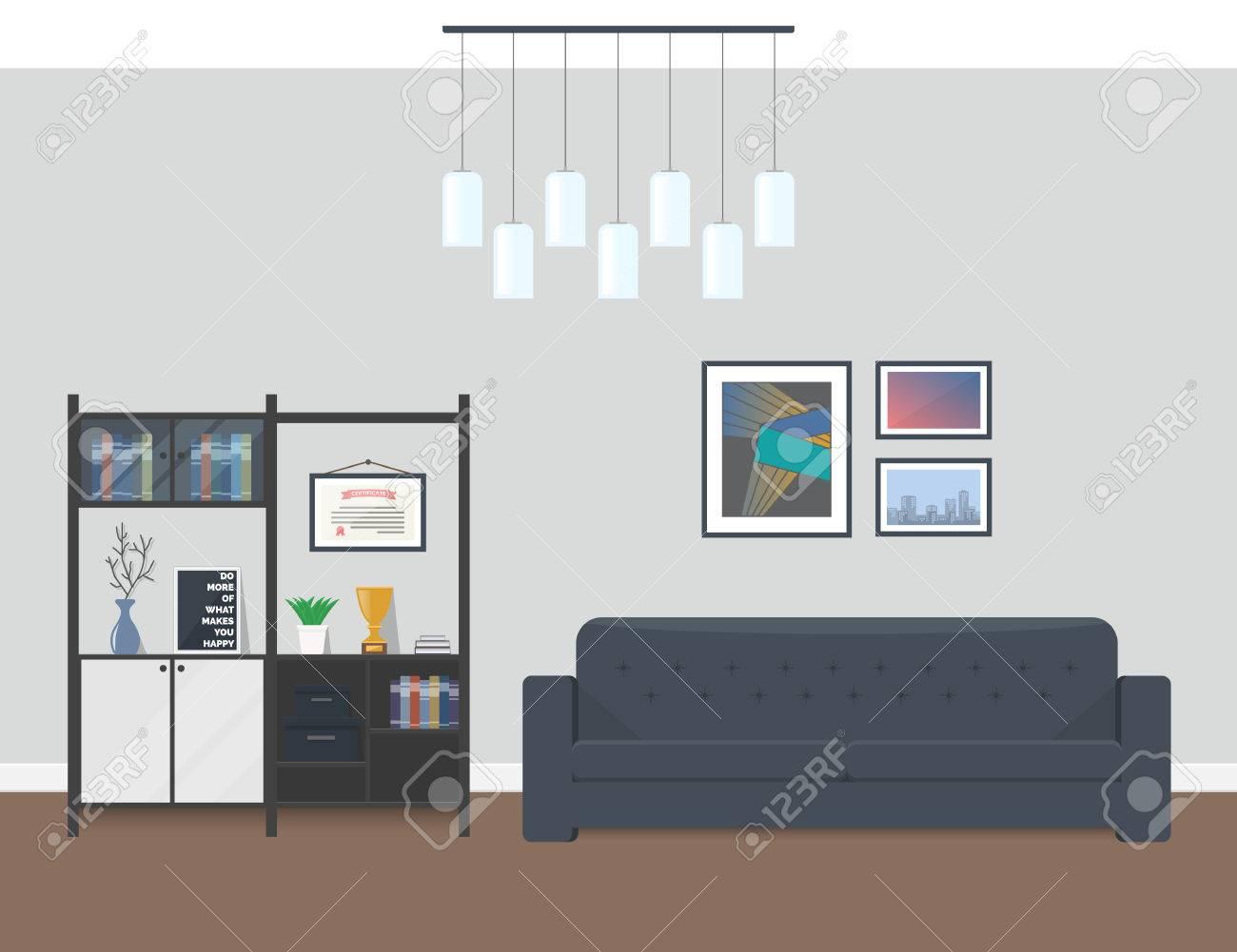 Innenarchitektur Des Modernen Wohnzimmers. Erholungsgebiet Im Büro ...