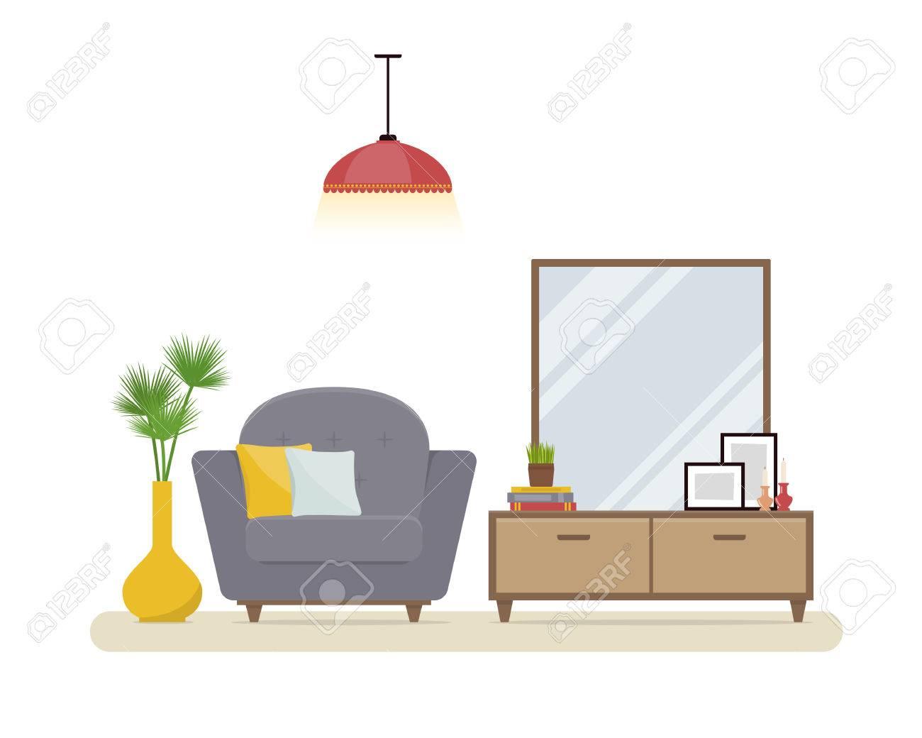 Wohnungsinterieur. Stilvolle Wohnzimmer Mit Grauen Moderne Sessel ...