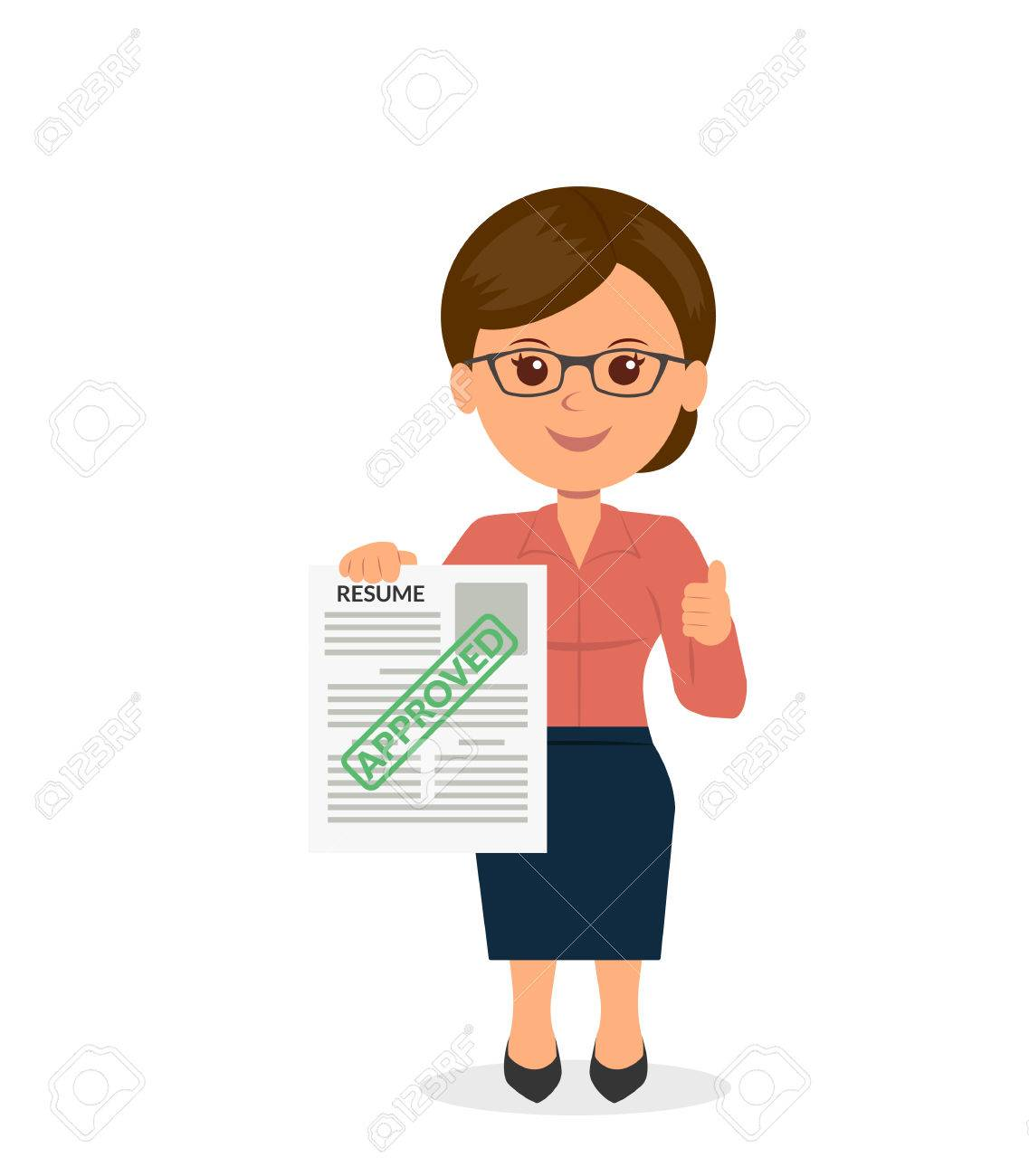 Young Woman Holding A Resume The Employer Approved. HR Management ...