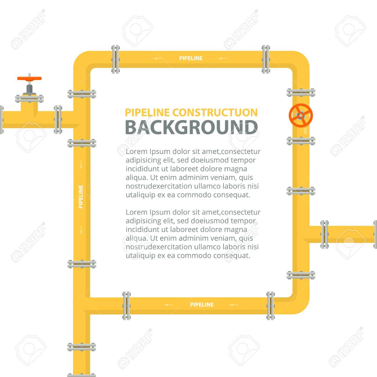 Industrieller Hintergrund Mit Gelber Rohrleitung. Rohre In Form ...