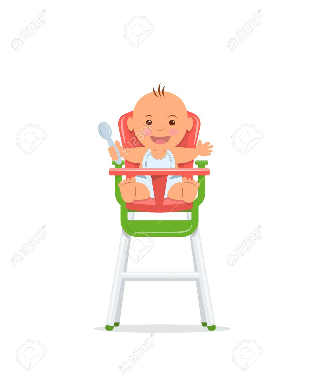 Cute Baby Sits On A High Chair And Holds A Spoon Baby Healthy