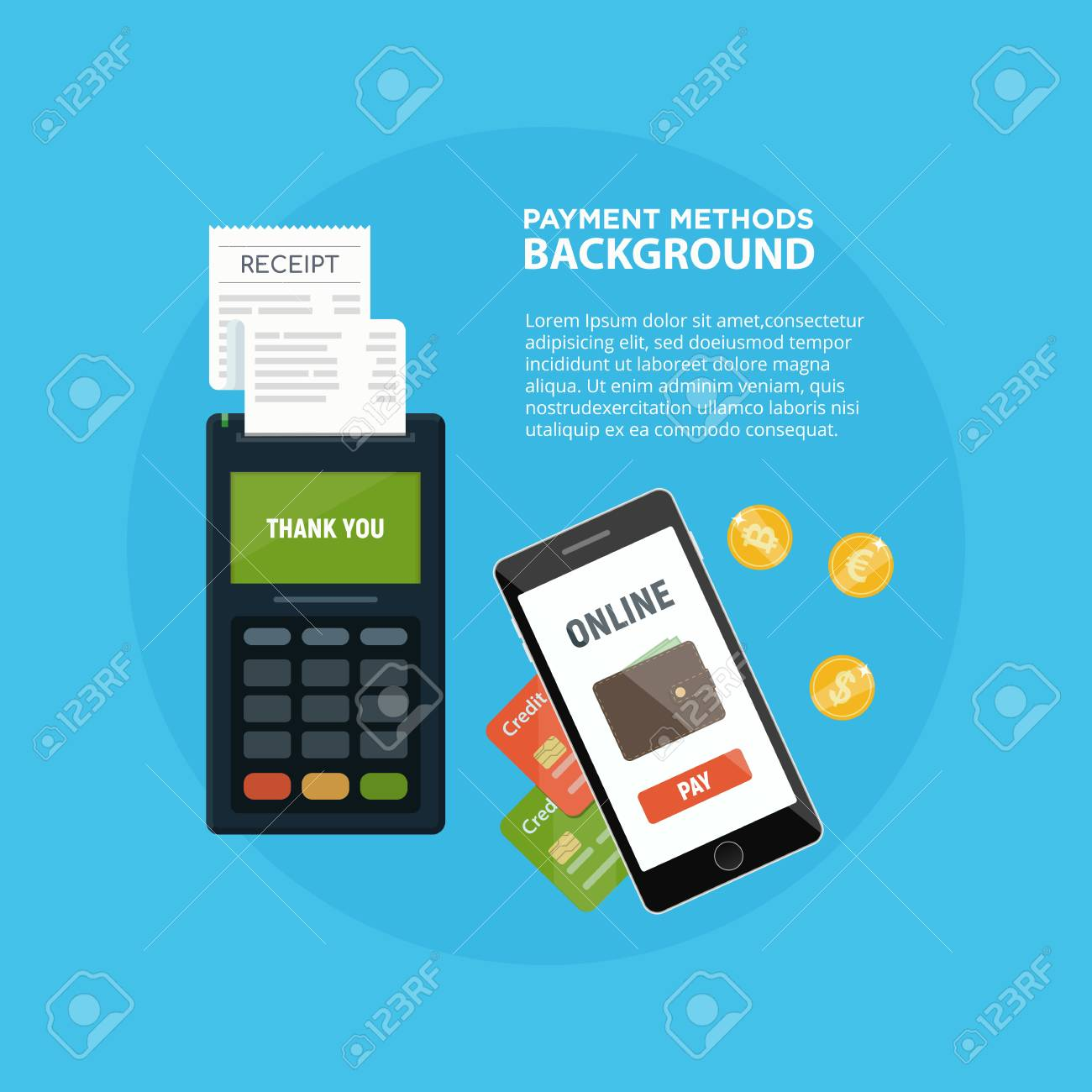 Methods payment concept  POS terminal confirm the payment  NFC