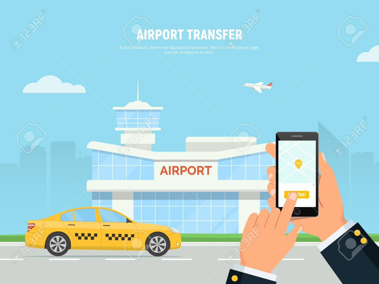 Person Holding Smartphone With Taxi Service Application. Airport.. Royalty Free Cliparts, Vectors, And Stock Illustration. Image 95405099.
