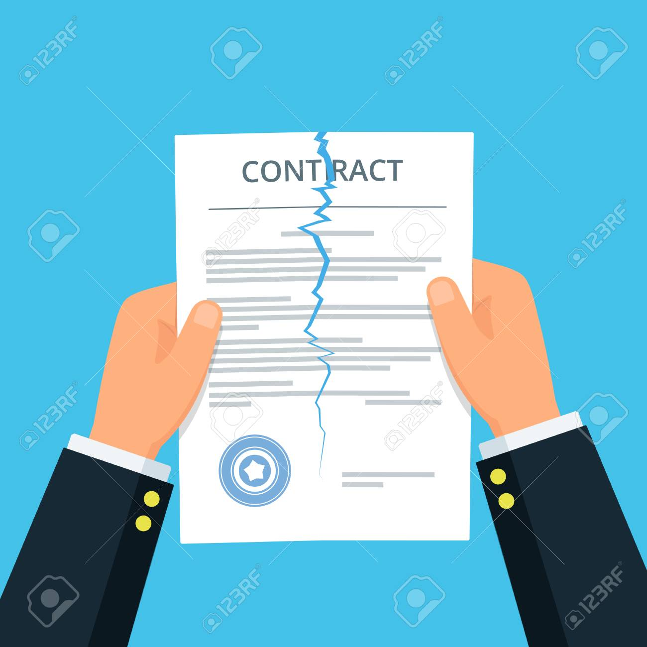 Close-up of person hands ripping up a contract. Terminated contract. Business concept of disagreement. Break the rules. Vector illustration in flat style. - 124593124